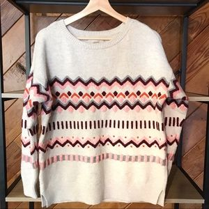 🌿 LOFT Cream Chevron Dot Print Sweater